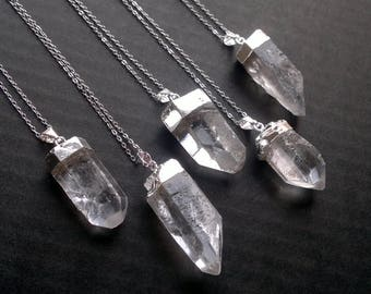 Silver Dipped Quartz Necklace Quartz Crystal Point Pendant Necklace Clear Quartz Jewelry Rock Crystal Mineral Stone Necklace Silver Crystal