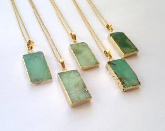 Chrysoprase Necklace Chrysoprase Pendant Green Stone Necklace Rough Raw Stone Slice Pendant Gold Edged Green Necklace Chrysoprase Jewelry