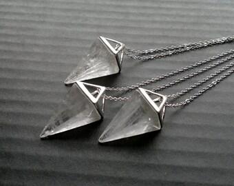 Clear Quartz Necklace Triangle Necklace Geometric Necklace Silver Clear Quartz Pendulum Pendant Clear Stone Necklace Clear Quartz Jewelry