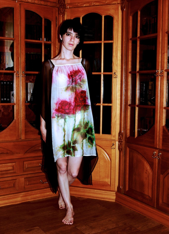 d8b2dca619b Premium silk kaftan dress Hand painted sheer chiffon tunic