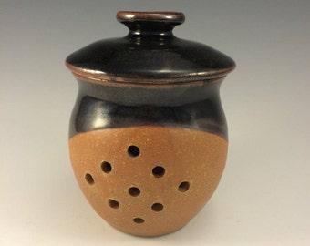 Stoneware Pottery Garlic Keeper Jar in Petes Black and Earthtone glaze