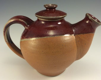 Stoneware Pottery Tea Pot in Red and Earthtone Glazes Handmade