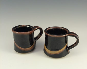 Espresso Coffee Cups in Pete's Black Glaze, small coffee mugs Sold as 1 Pair