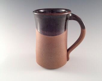 Ceramic Coffee Mug, Black and Earthtone glazes coffee and tea