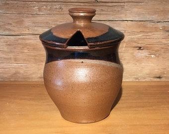 Honey Pot in Petes Black and Earthtone Stoneware Pottery honey jar