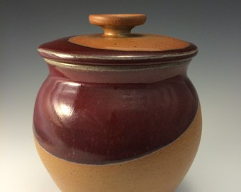 Stoneware Pottery Cannister Jar Red and Earthtone glaze Cookie jar, urn