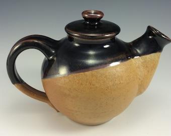 Stoneware Pottery Tea Pot in Petes Black and Earthtone Glazes Handmade