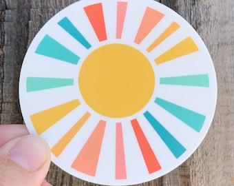NEW! Colorfully Happy Sunshine vinyl sticker in rainbow colors - water bottle sticker - laptop sticker - planner sticker