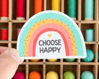Choose Happy rainbow sticker - vinyl sticker - water bottle sticker - laptop sticker - planner sticker