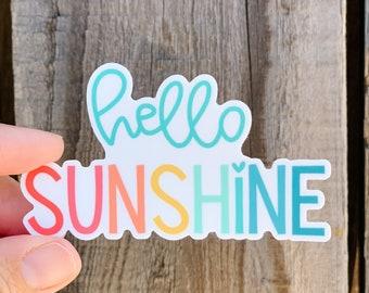 NEW! Hello sunshine die cut vinyl sticker in rainbow lettering - water bottle sticker - laptop sticker - planner sticker