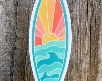 NEW! Sunshine and Waves surfboard - die cut vinyl sticker in bright colors - water bottle sticker - laptop sticker - planner sticker