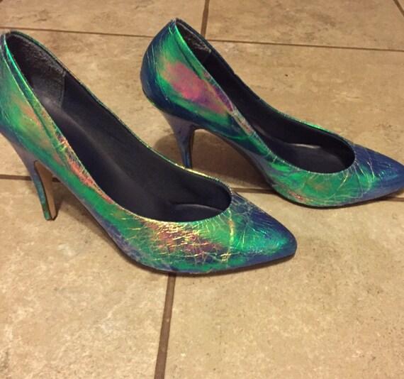Mermaid Heels / Iridescent Pumps / 1980's / 80's P