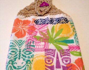 TROPICAL TIKI TOWEL crochet top kitchen towel dish towel towel topper