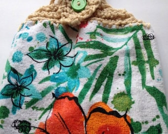 TROPICAL FLOWERS TOWEL crochet top kitchen towel dish towel towel topper
