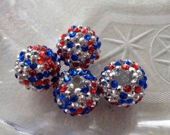 Patriotic Star Beads Red White Blue Glass Beads Big size 4th of July Veterans Day VOTE