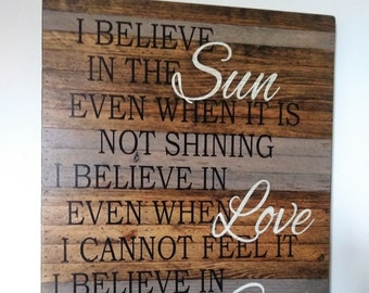 I Believe, Large Wood Sign, Wood Sign, Fixer Upper Sign, Fixer Upper Style, Rustic Sign, Rustic Wood Sign, Blessed, Palletwood Sign