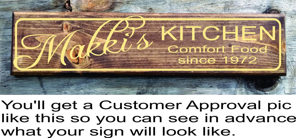 Personalized Kitchen Signs Gifts Decor Items Kitchen Decor Art Gift For Mom  Birthday Wall Decor Gift For Cook Chef Custom Kitchen Sign Gift