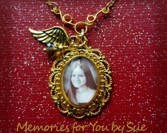 Gold Necklace Pendant-Custom Photo Pendant-Mom Photo Gift-Personalized Jewelry-Glass Photo Pendant-Memory Necklace-Funeral Gift-