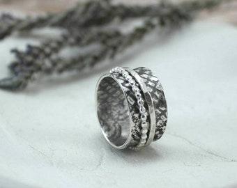 Midnight Spinner Ring - Silver Spinner Ring - Fidget Ring