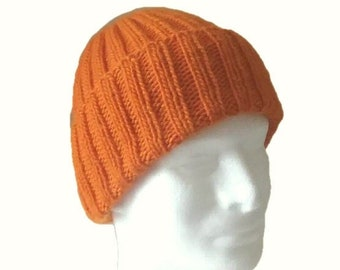 Orange watch cap, extra thick, very warm, hand knit with wool & mohair yarn.
