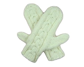 White merino mittens, hand knit, horseshoe cable pattern, washable, eco-friendly, warm, stretchy, ivory, ecru, winter white