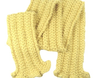 Pure alpaca scarf, reversible, ruffled ends, chunky weight yarn, hand knit, eco friendly, hypoallergenic, gift for woman