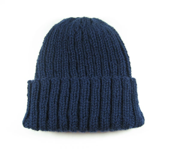 Dark blue knit toque wool watch cap hand knit hat navy  cca66f3e0ce