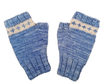 Merino wool fingerless mitts, hand knit, blue hand warmers for cold office, typing mitts, size medium