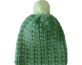 Hand knit, all wool pompom hat, fits most women, wear slouchy or with brim