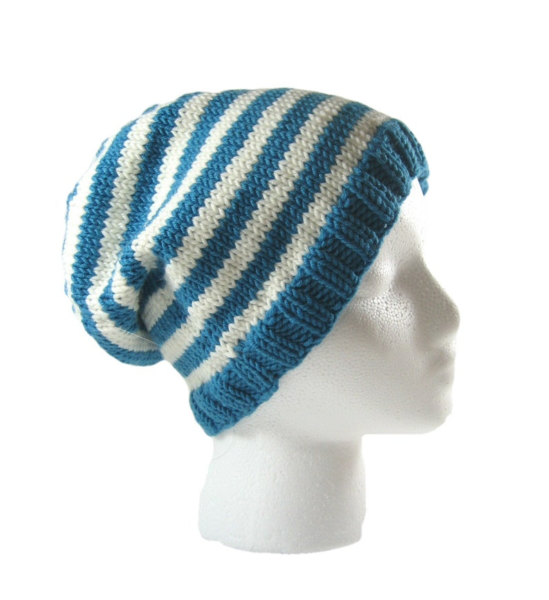 a51af43acf8 Striped merino hat hand knit beanie turquoise toque striped
