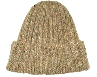Donegal Tweed toque, Irish wool hat, brown knit cap, rib knit beanie, tweed watch cap, wool knit, sailors hat, hand knit, classic tweed hat