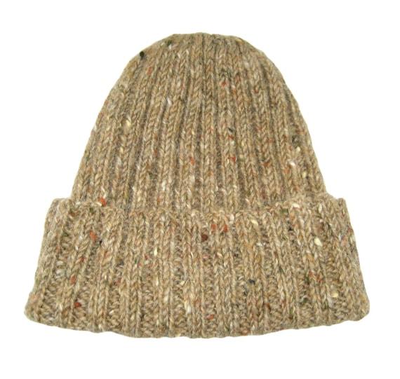 0667c9721 Donegal Tweed toque, Irish wool hat, brown knit cap, rib knit beanie, tweed  watch cap, wool knit, sailors hat, hand knit, classic tweed hat