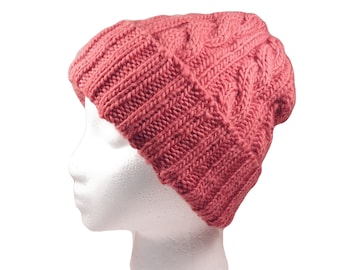 Old rose cabled hat, very soft, warm wool, squishy and very stretchy, fits most women.