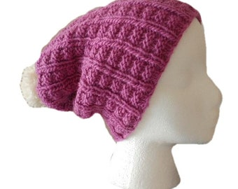 All wool pompom hat, hand knit, fits most women, wear slouchy or with brim
