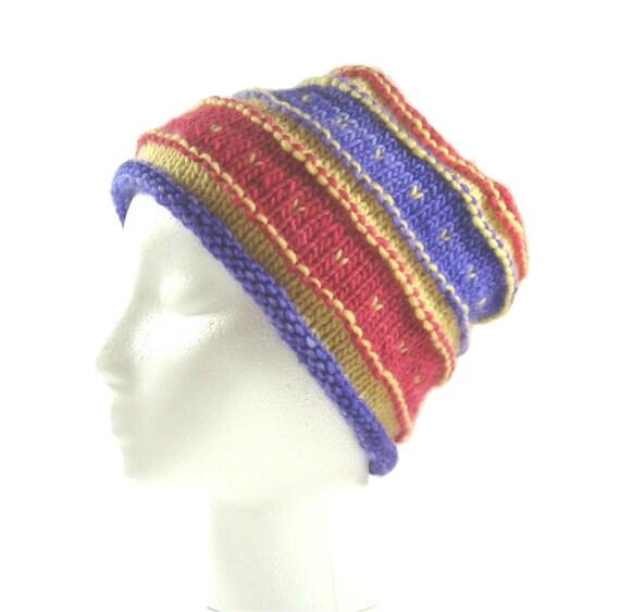blue winter hat blue wool toque unisex hat hand knitted toque handspun Blue wool hat handmade hat blue square hat hand dyed wool hat