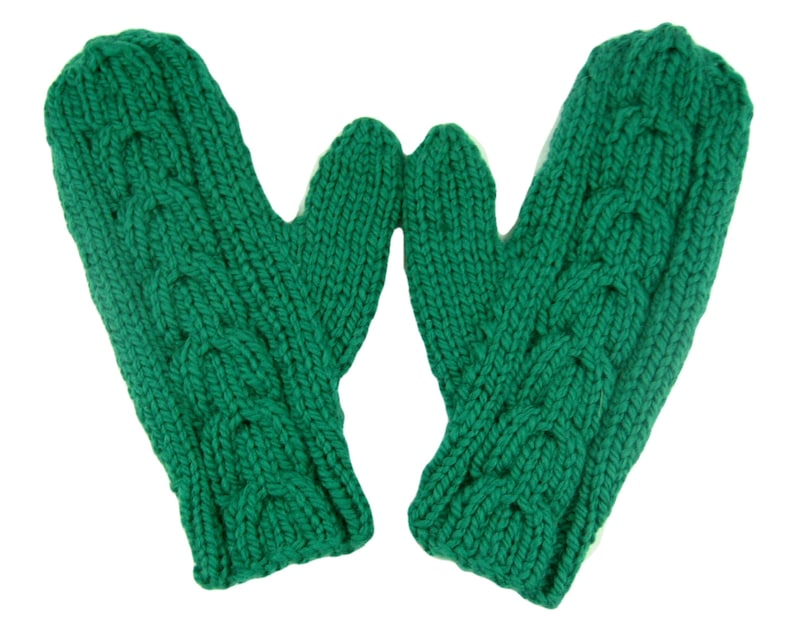 8fb29bf2a77361 Green merino wool mittens hand knit with chunky yarn