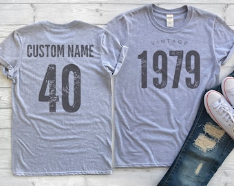 b177bbcd4 Vintage 1979 Sport Gray / Heather Gray Birthday T-Shirt 40th Custom Name  Celebration Gift mens womens ladies TShirt Unisex Personalized
