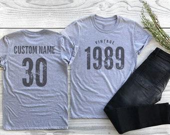 0cd8e896 Vintage 1989 Sport Gray / Heather Gray Birthday T-Shirt 30th Custom Name  Celebration Gift mens womens ladies TShirt Unisex Personalized