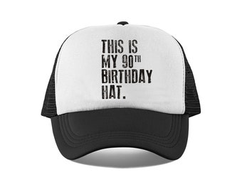 This Is My 90th Birthday Hat 90 Years Old Mesh Trucker For Him Or Her Retro Vintage