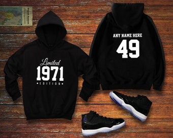 Born in 1971 Hoodie Awesome Since Hoodie Birth Year Happy Birthday Gift 7 COLORS