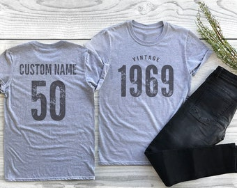 f6d5f4ec7 Vintage 1969 Sport Gray / Heather Gray Birthday T-Shirt 50th Custom Name  Celebration Gift mens womens ladies TShirt Unisex Personalized