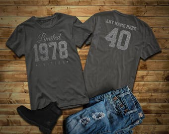 1978 SILVER Limited Edition Birthday T Shirt 40th Custom Name Celebration Gift Mens Womens Ladies Tee Unisex Personalized
