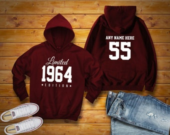 ab10722d 1964 Limited Edition Birthday Hoodie 55th Custom Name Celebration Gift mens  womens ladies hooded sweatshirt sweater Unisex Personalized