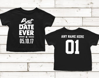 1 Year Old Birthday Shirt Best Date Ever Niece Nephew Son Daughter Custom Personalize Gift Toddler You Pick The