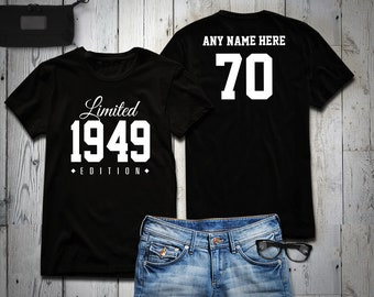 2934f1679 70 YEAR OLD VINTAGE PERFECTION 1949 Personalised Birthday T-Shirt T-Shirts  OR ANY YEAR Shirts ...