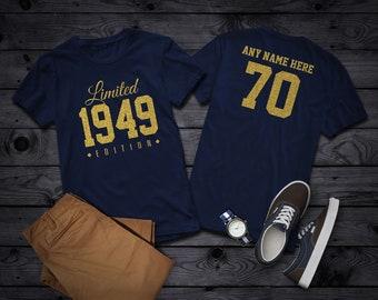 b7f9e2ed 1949 Gold Glitter Limited Edition Birthday T-Shirt 70th Custom Name  Celebration Gift mens womens ladies Shirt Tee Shirt Personalized