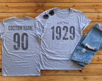 Vintage 1929 Sport Gray Heather Birthday T Shirt 90th Custom Name Celebration Gift Mens Womens Ladies TShirt Unisex Personalized