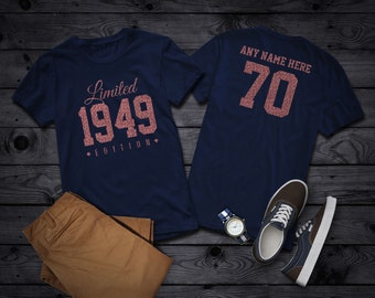 2d8375931 1949 Rose Gold Glitter Limited Edition Birthday T Shirt 70th Custom Name  Celebration Gift Mens Womens