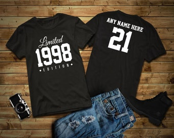 1998 Limited Edition 21st Birthday Party Shirt 21 Years Old Year Tee Personalized