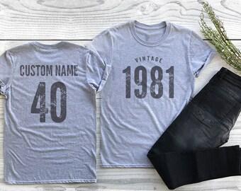 Vintage 1981 Sport Gray / Heather Gray Birthday T-Shirt 40th Custom Name Celebration Gift mens womens ladies TShirt Unisex Personalized